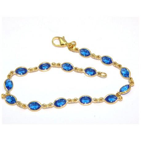 Bracelet plaqué or pierres bleue