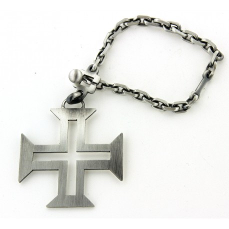 Porte clés argent croix portugaise