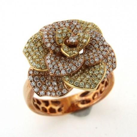 Bague Or avec diamants forme fleur