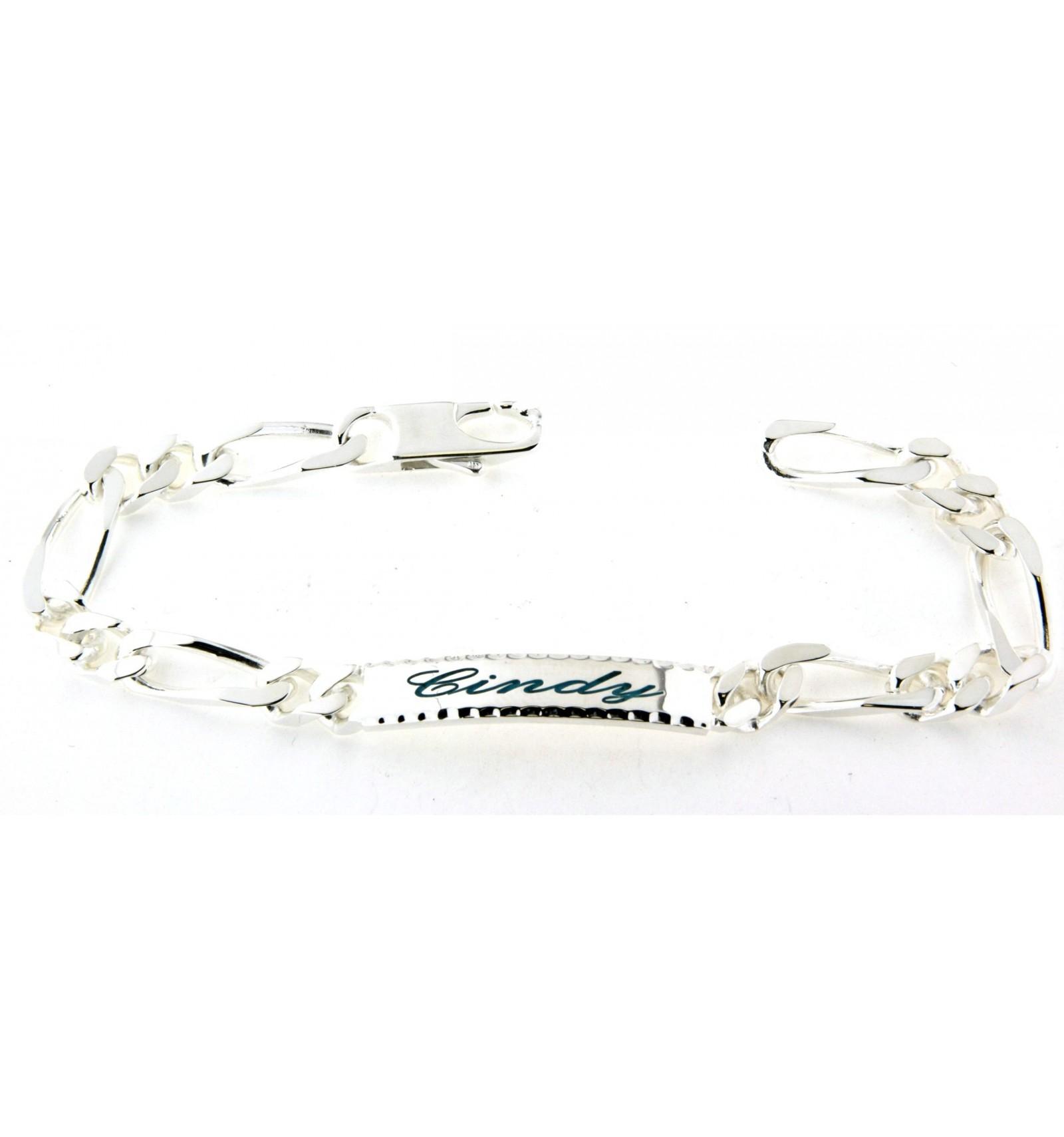 bracelet argent femme gravure