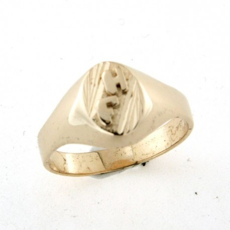 Chevalière plaqué or avec deux initiales soudées